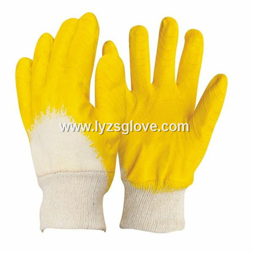 latex coated cotton gloves with screw thread wrist