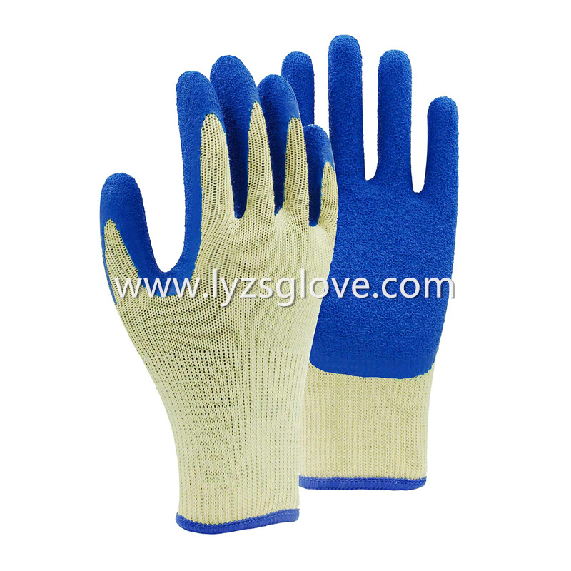 10gauge Crinkle latex coated gloves