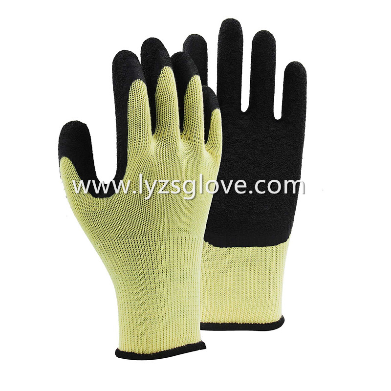 Crinkle latex coated gloves