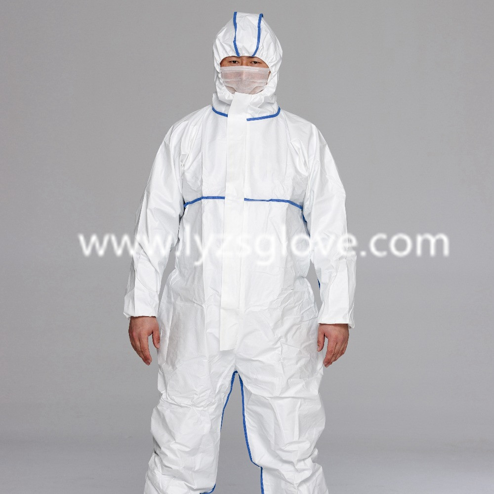 Polypropylene protective disposable nonwoven coverall