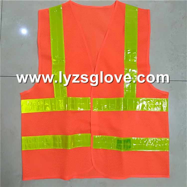 yellow lattic reflective tape orange mesh vest